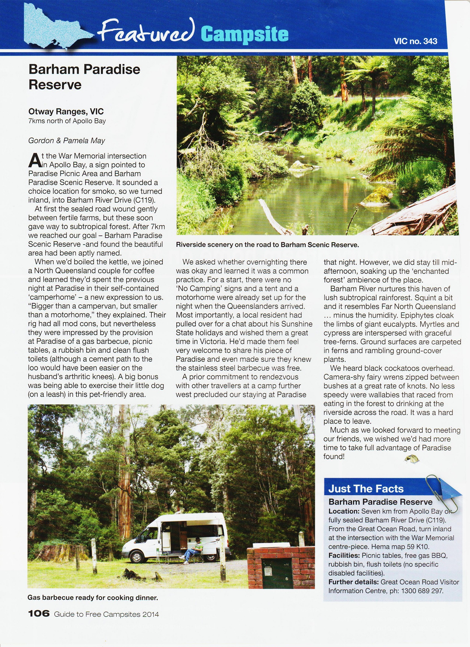 Barham Paradise Reserve campsite – Memoirs and Travels of Gordon and Pam